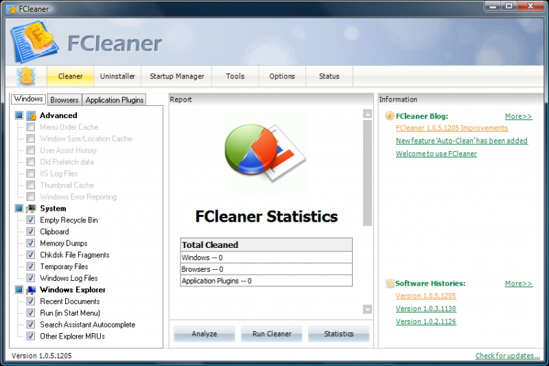 fcleaner main screen Fcleaner   Fast, Efficient and Free System Cleanup
