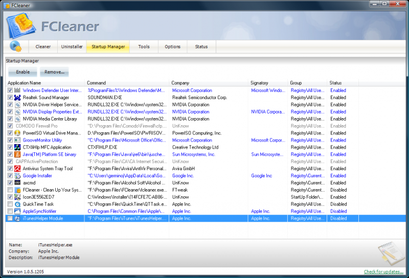 fcleaner startup Fcleaner   Fast, Efficient and Free System Cleanup