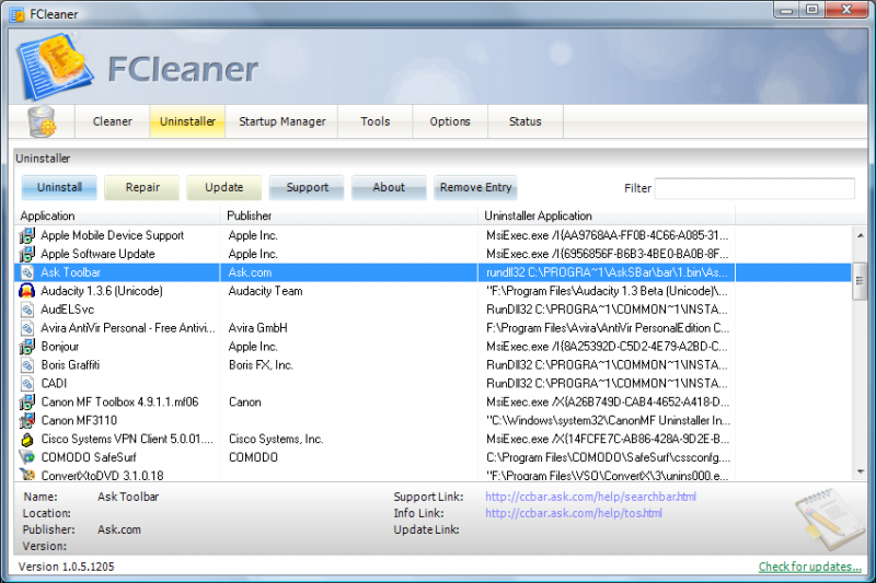 fcleaner uninstall Fcleaner   Fast, Efficient and Free System Cleanup